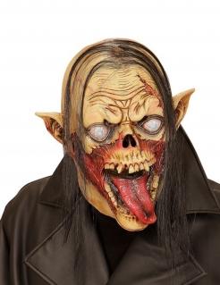 Verwundeter Vampir Horrormaske mit Haaren gelb-rot-schwarz