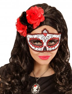 Verzierte Tag-der-Toten-Maske mit Glitzereffekt weiss-rot-schwarz