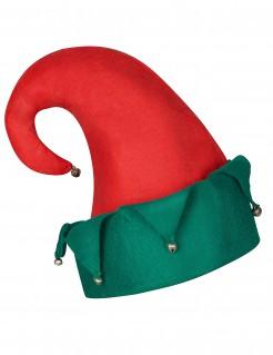 Kobold Weihnachtsmütze mit Glöckchen rot-grün