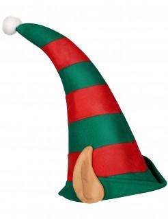 Gestreifte Kobold-Mütze mit Ohren grün-rot