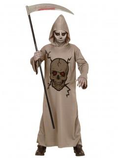 Tod-Kinderkostüm Sensenmann mit Totenkopf-Aufdruck grau