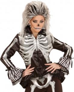 Edle Gothic-Jacke für Damen mit Rüschen und Skelett-Print schwarz-weiss