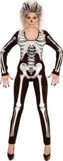 Heisse Skelett-Frau Halloween Damenkostüm Jumpsuit schwarz-weiss
