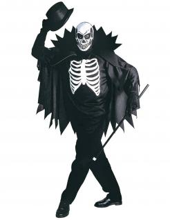 Halloween-Umhang und Skelett-Maske schwarz-weiss