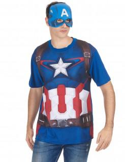 Set aus T-Shirt und Maske im Captain America Look Superhelden blau-weiß-rot