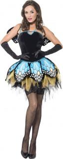 Sexy Schmetterling Damenkostüm schwarz-blau