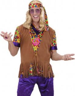 Hippie Herren-Weste mit Fransen und Haarband braun-bunt
