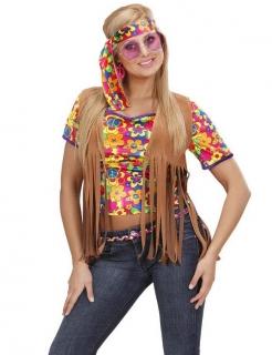 Hippie Damen-Weste mit Fransen und Haarband braun-bunt