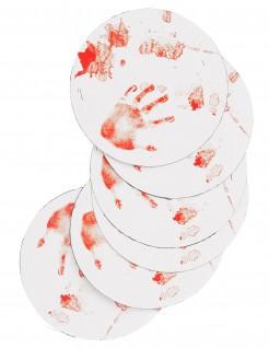 Halloween Untersetzer blutige Tischdeko 6 Stück rot-weiss 12cm