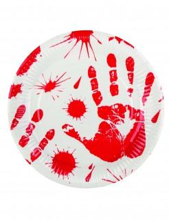 Blutige Handabdrücke Halloween-Pappteller 23cm 6er-Set weiss-rot