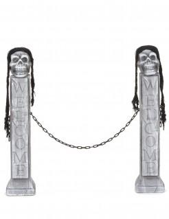Halloweenparty-Eingangspfeiler mit Totenköpfen 2 Stück grau-schwarz 75x15x10cm