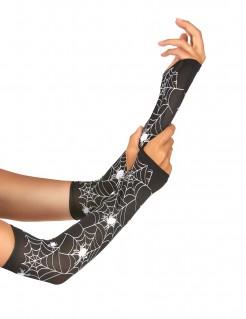 Spinnennetz-Handschuhe Halloweenkostüm-Accessoire schwarz-weiss 13cm