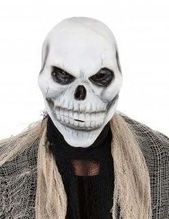 Düstere Totenkopf-Maske Horrormaske weiss-schwarz