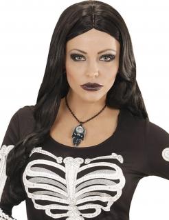 Totenschädel mit Schmuckstein Halloween Gothic Halskette schwarz-silber