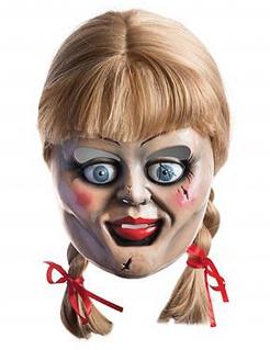 Annabelle-Maske Horrorpuppen-Maske mit Haaren Lizenzware bunt