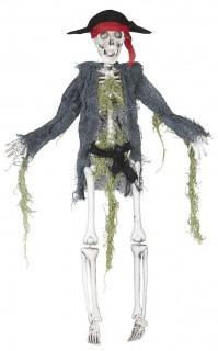 Piraten Skelett Halloween-Hängedeko grau-weiss 42cm