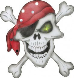 Stoff Piraten Totenkopf Halloween Wand-Deko weiss-grau 49x49cm