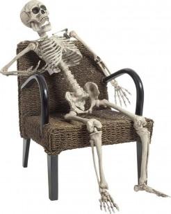 Realistisches Skelett Halloween-Deko weiss 160cm