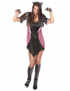Sexy Werwolf-Kostüm Halloween-Damenkostüm schwarz-grau-rot