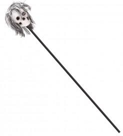 Totenschädel-Stab Halloween-Gehstock mit Haaren schwarz-weiss 120cm