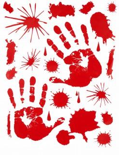 Blutige Hände Sticker-Set Halloween-Party-Deko 10-teilig rot 30x40cm