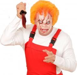 Horrorpuppen-Maske mit Haaren hautfarben-orange-rot