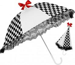 Harlekin Regenschirm Zirkus schwarz-weiss