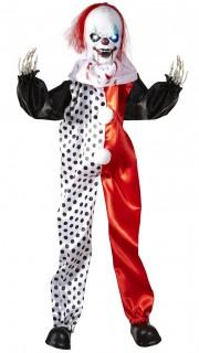 Horror-Clown mit Leuchtaugen Halloween-Deko-Figur schwarz-weiss-rot 90cm