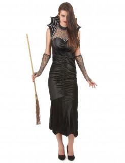 Elegante Spinnen-Hexe mit Kragen Halloween Kostüm für Damen schwarz-silber