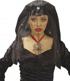 Halloween-Kopfbedeckung Hexenschleier mit Spinnen schwarz