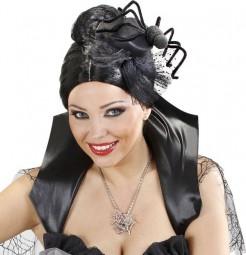 Halloween-Kopfbedeckung Minihut mit Spinne schwarz