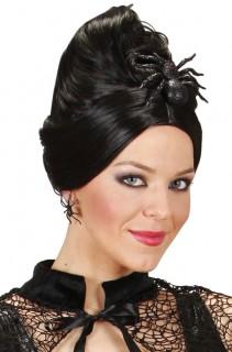 Halloween-Haarschmuck Spinne schwarz 10x8cm