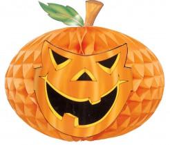 Grinsender Kürbis Wabe Halloween Party-Deko orange-grün 52cm