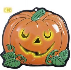 Neon-Kürbis Halloween-Wanddeko orange-schwarz-grün 25x22cm