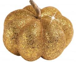 Glitzer Kürbis Halloween Party-Deko gold 15cm