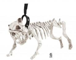 Hundeskelett mit Leine Halloween Party-Deko weiss-schwarz 45cm