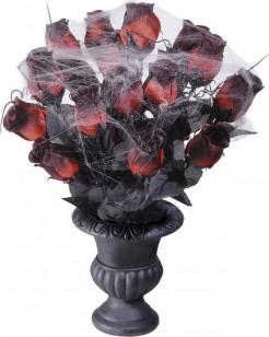 Rote Rosen mit Spinnweben in Vase Halloween-Deko rot-schwarz-grau 35cm
