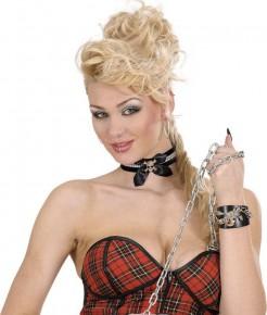 Strass-Halsband Choker mit Totenkopf schwarz-silber