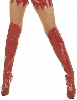 Lack-Stiefelstulpen Kostümaccessoire rot 60cm