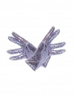 Pailletten-Handschuhe silber