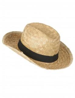 Kinder-Strohhut mit Hutband beige-schwarz