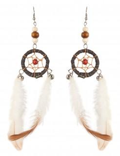 Indianer-Ohrringe Traumfänger Kostüm-Accessoire beige-brun