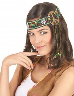 Hippie Stirnband Peace-Zeichen braun-bunt