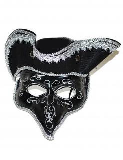Venezianische Karnevalsmaske schwarz-silber