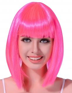 Glatte Disco-Damenperücke mittellang pink