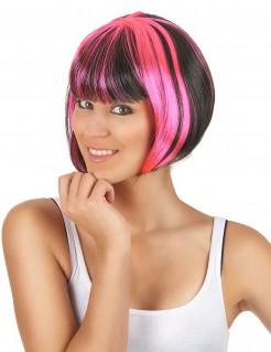 Kurze Bob-Perücke für Damen schwarz-rosa