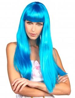 Lange Damenperücke mit Pony blau