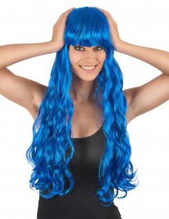 Lange Locken-Damenperücke blau