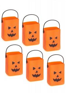 Kürbis Eimer Halloween Behälter 6 Stück orange-schwarz 7x3,5x4,5cm
