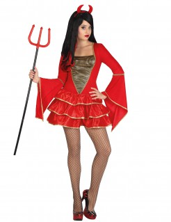 Sexy Teufelin Damen-Kostüm rot-gold
